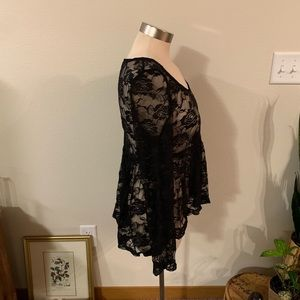 Ultra Flirt Tops - Black lace peplum top
